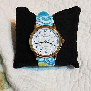 Timex Indiglo watch women's blue  white yellow